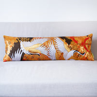 Oriental Bolster Cushion - flying cranes on gold