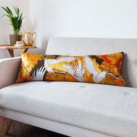 Oriental Bolster Cushion Vintage Uchikake Flying Cranes Orange Gold Velvet