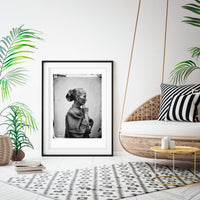 Oriental woman portrait black white art print
