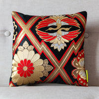 Oriental silk pillow pair