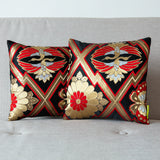 Pair pillows in black red gold silk