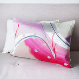 Peacock Pillow Vintage Japanese Obi Silk in Pink and Silver