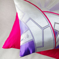 Pink Silver Cushions Upcycled Obi Pillow