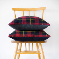 Plaid Pillows Navy or Grey Wool Cushions in Upcycled Vintage Gannex
