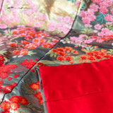 Red Silk Lining of Kimono Throw Blanket