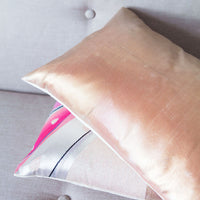 Rose Gold Cushion Repurposed Japanese Obi Vintage Silk
