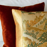 Rust Velvet Japanese Obi Cushion