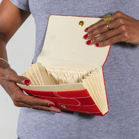 Silk Clutch Bag Inside Pockets Press Shut Foldover Bag