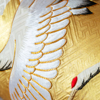 Silk crane pillow in gold