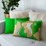 Silk Kimono Cushion Green Gold Pine Tree Design and showing Green Back