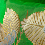 Woven Gold Pine Tree Cushion Detail Upcycled Vintage Obi Silk Pillow