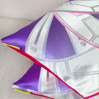 Silver Kimono Cushion Purple Genji Wheels Pink Back
