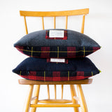 Tartan Cushions in Navy or Grey Wool Vintage Gannex Pillows