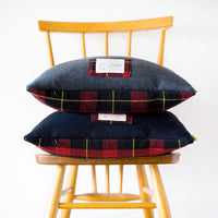 Grey Wool and Navy Wool Cushions Tartan Double Sided