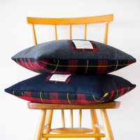 Tartan Throw Pillows in Navy or Grey Wool Vintage Gannex