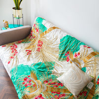 Teal Gold Designer Throw in vintage silk
