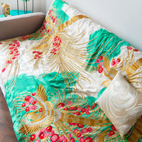 Turquoise Cream Gold Silk Throw