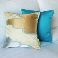 turquoise silk back japanese pillow