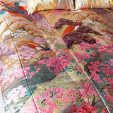 Uchikake Wedding Kimono Throw Luxury Bedspread Silk Embroidery Flowers Birds