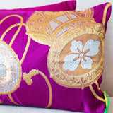 Vintage Japanese Obi Silk Cushion Purple Gold
