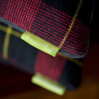 Vintage Tartan Wool Cushions detail of tags