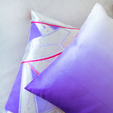 White Pink Purple Silk Cushion Upcycled Vintage Obi