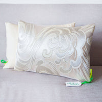 White Silver Pillow Araumi Nami Ocean Wave