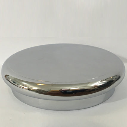 polished chrome over brass cap with vertical knurl for threaded neck