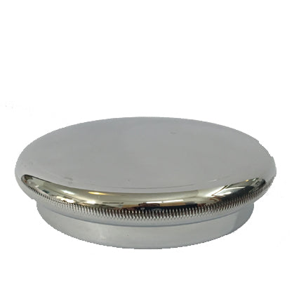 polished chrome over brass cap with vertical knurl press and twist style