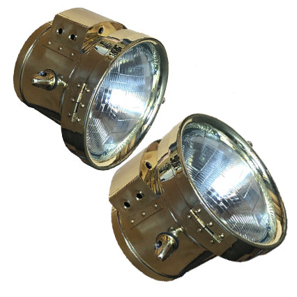 """Short Stack"" polished brass headlights for motorcycles and cars"