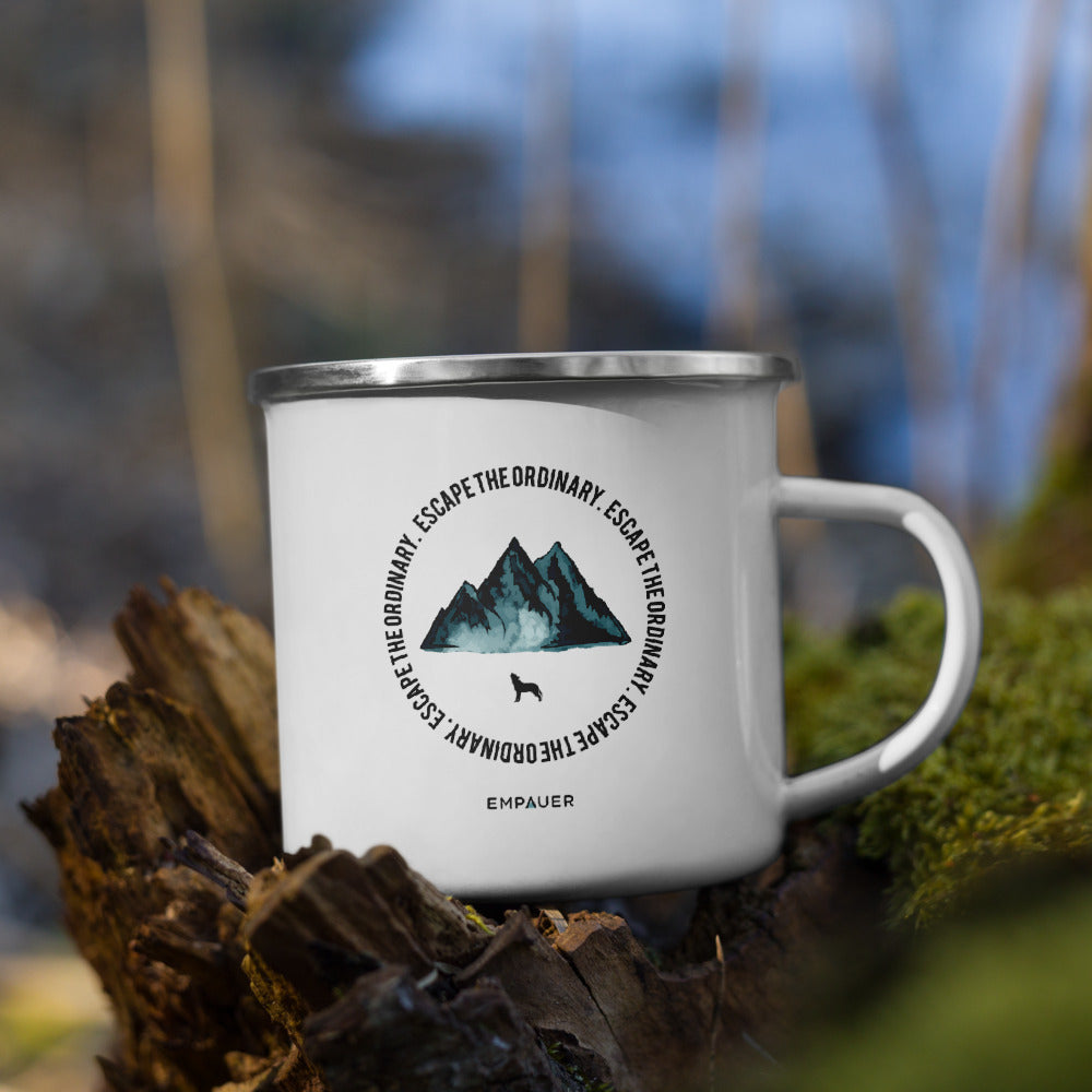 """Escape the Ordinary"" Enamel Mug"