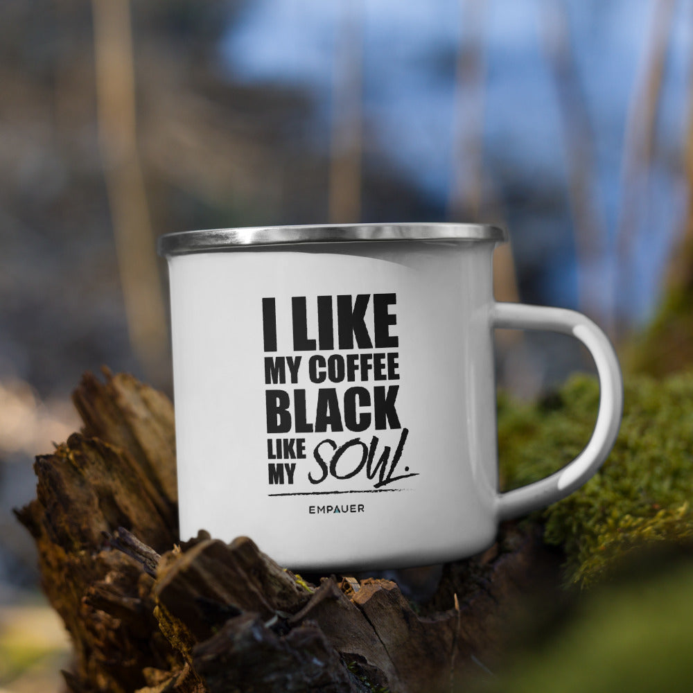 """I Like My Coffee Black"" Enamel Mug"