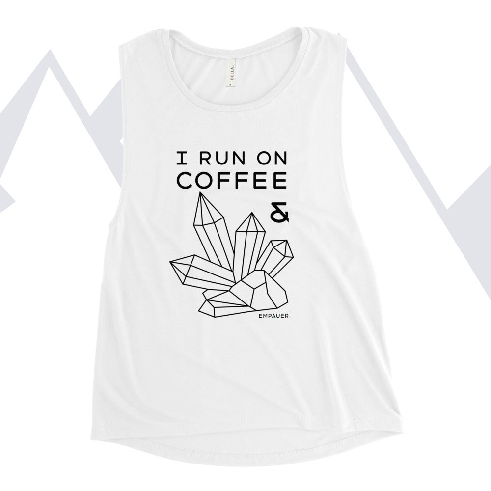 """Coffee and Crystals"" Women's Muscle Tank"