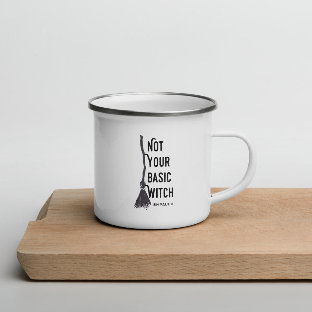 """Not Your Basic Witch"" Enamel Mug"