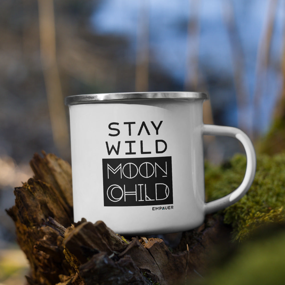 """Stay Wild Moon Child"" Enamel Mug"