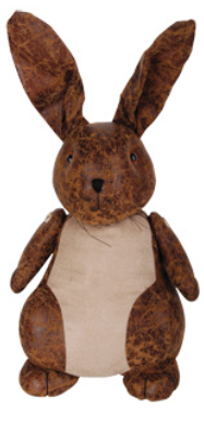 LEATHER ANIMAL DOORSTOP LARGE - RABBIT