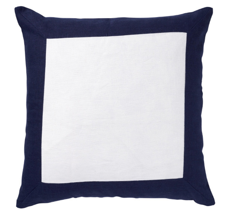 LINEN BORDER NAVY CUSHION