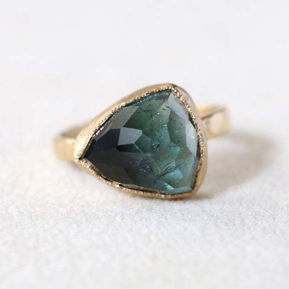 Two tone blue green tourmaline Ring