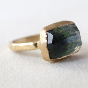 Two tone blue green tourmaline Ring 8.08ct