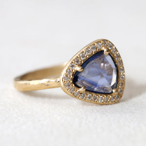 1.55ct blue sapphire halo ring
