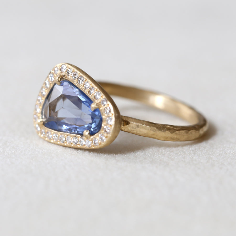1.69ct blue sapphire halo ring
