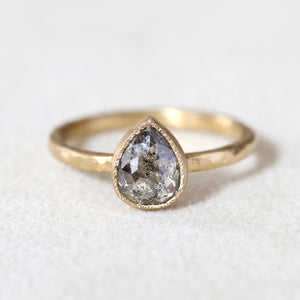 1.27ct dark grey diamond ring