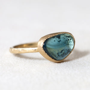3.21ct blue green tourmaline ring