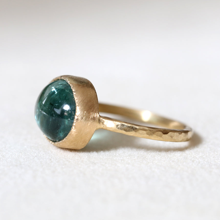 6.11ct blue green tourmaline ring