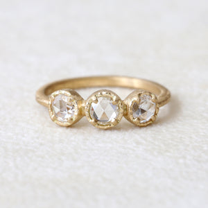 0.58ct colorless rose cut  diamond ring