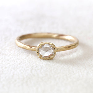 0.27ct rose cut diamond ring