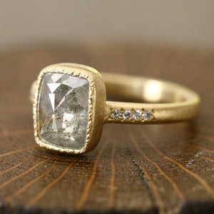 2.30ct rectangle grey diamond ring