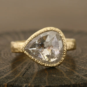3.44ct translucent light grey diamond ring
