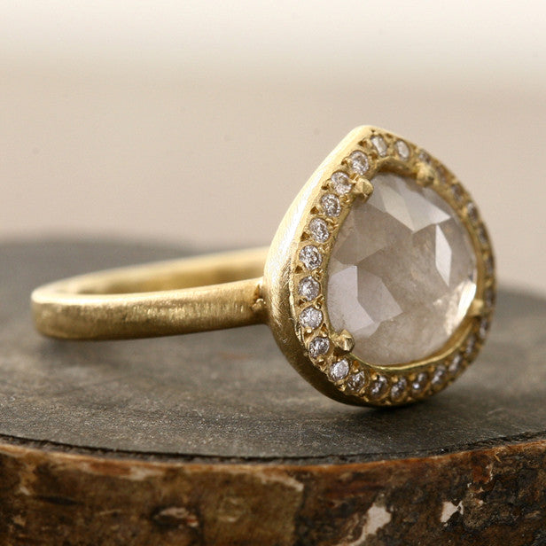 1.92ct milky grey diamond ring
