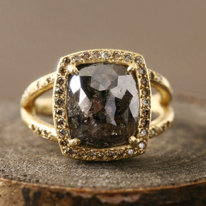 4.81ct natural black brown diamond ring
